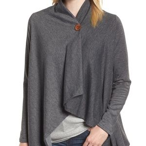 Bobeau One-Button Fleece Wrap Cardigan NEW
